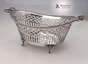Dutch Basket 833 Silver Open Work Beaded Wreath Handles 1913