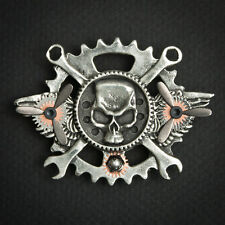 steampunk, altered art pin. Brooch. Hand crafted sky captain skull with wings
