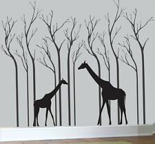 Hight 200cm Two Giraffe And Trees Vinyl Wall Paper Decal Art Sticker T161