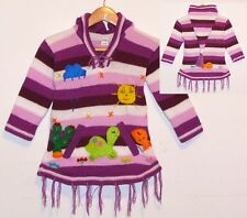 Pullover Kleid: violett lila weiss, Gr.92*98, XXL-Zipfelkapuze + Tiere, Peru