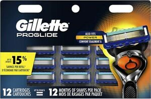 Gillette Fusion Proglide Men Razor Blades 12 Cartridges Sealed Made In USA