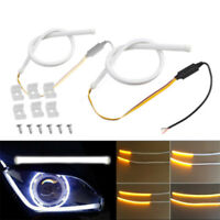 2x 45cm White&Amber Car Switchback Flowing Flexible LED Turn Signal Light Strips