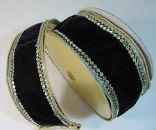 "Purple Velvet Diamonds Luxe Wire Edge Ribbon, Farrisilk, 4"", Christmas Wreaths"