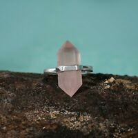 Rose Quartz Gemstone Pencil Point Band Ring 925 Sterling Silver Gift Jewelry