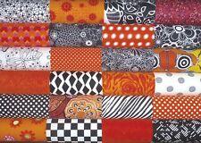 24 Orange  Black White Mixed Prints quilting fabric 5 inch squares #25m
