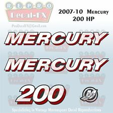 07-10 Mercury 200 HP Outboard Reproduction 4 Piece Marine Decals