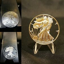 2014 1 OUNCE GOLD SILVER EAGLE HAND CUT ALL FIELDS REMOVED 24K GOLD PLATED