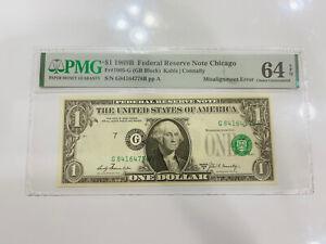$1 1969 B Federal Reserve ERROR NOTE PMG 64 EPQ MAJOR Misalignment Error Chicago