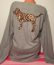 Victoria's Secret Pink Leopard Campus Print Long Sleeve Doggie V-Neck Tee M NWT
