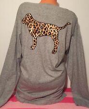 Victoria's Secret Pink Leopard Campus Print Long Sleeve Doggie V-Neck Tee M NWT