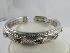 JUDITH RIPKA 925 STERLING SILVER HINGED CUFF BRACELET 5 FACETED AMETHYSTS XLNT
