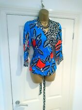 Linea BNWT House Of Fraser Floral Blue Wrap Kimono Top Blouse 8 RRP £60