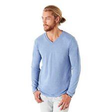 Cotton Blend Patternless Long Sleeve Basic T-Shirts for Men