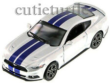 Kinsmart 2015 Ford Mustang GT 5.0 1:38 Diecast Toy Car Silver With Blue Stripes