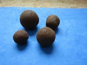 RARE/SCARCE LOT(4)Civil war era iron grapeshot, canister shot
