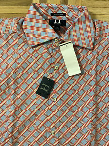 New Hilfiger 100's 2 Ply Cotton Mens Red/Blue Geometric Button-Front Shirt Large