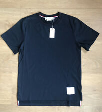NEW! £220 THOM BROWNE Navy Blue Side Slit Relaxed Jersey T Shirt Size XS 0 Logo
