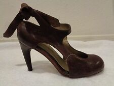 MARCELLO TOSHI Brown mary jane closed toe tie leather Heels $348 SZ 8