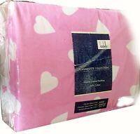 Amore Pink Love hearts | Flannelette Sheet Set | Soft & Fluffy | King Single