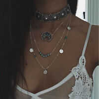 Women Chic Retro Triple-Chain Silver Boho Turquoise Pendant Necklace Jewelry NEW