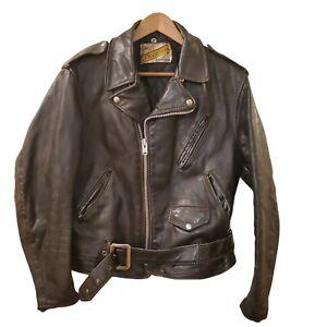 SCHOTT NYC 618 SZ 44 Classic Perfecto Steerhide Leather Motorcycle Jacket Black