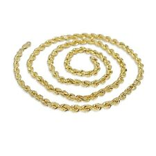 Mens Womens Real 10K Yellow Gold 5MM Gift Twisted Rope Chain Necklace 20 Inch