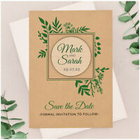Save The Date Wooden Magnets PERSONALISED Botanical Greenery Save The Date Cards