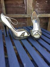 Gorgeous Gold/black High Heeled Open Toe Shoes. Size 4