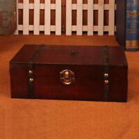 Vintage Wood Treasure Chest Wooden Jewellery Storage Box Case Organizer