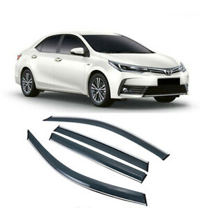 4PCS Window Visor Sun Rain Chrome Guard Vent Shade For Toyota Corolla 2014-2018.
