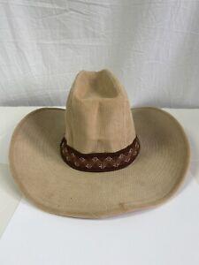 Vintage 70s Cowboy Hat Tan Corduroy 7 - 7 1/2 M Rigid Western New Old Stock
