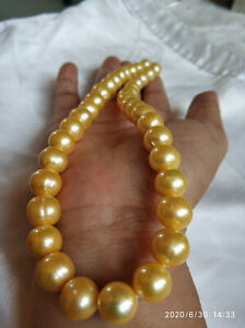 20 inch Stunning AAA+ 12mm Real natural south sea golden pearl necklace 14k gold