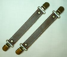 Faux Leather Steampunk Skirt Suspenders/Lifters, Antique Brass Clips - lot