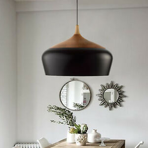 Ceiling Light Wood Grain Paint Shade Pendent Kitchen Island Hanging Lamp Black