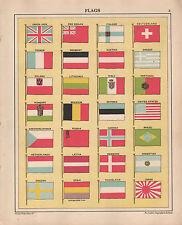 1934 PRINT ~ FLAGS OF THE WORLD ~ UNION JACK JAPAN POLAND DENMARK SWEDEN etc