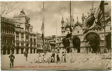 1910 Venezia Chiesa S. Marco Torre Orologio Turisti Bandiere FP B/N VG ANIM
