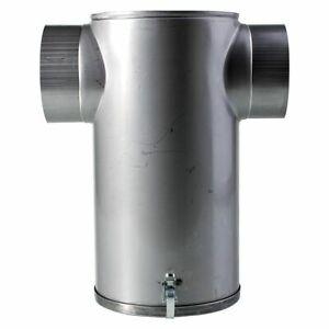 Schalldämpfer Edelstahl T-Form mit abnehmbarer Bodenplatte 130 mm Anschlußstutze