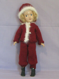 "Vintage 14"" Mary Hoyer Composition Doll with Red Knitted Winter Outfit!"