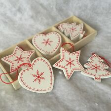 Set 12 Wood Nordic Christmas Tree Decorations Scandinavia Red White Snowfllake