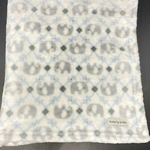 Blankets & Beyond White with Gray Elephants Baby Blanket Blue Lattice FAST SHIP