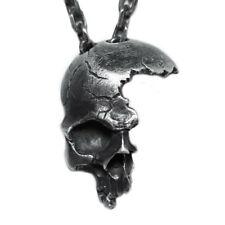 Broken Damaged Half Face Skull Pendant Necklace Men's Biker Rock Punk Jewelry