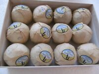 DOZEN UNUSED REPRODUCTION GOLF BALLS-EACH BALL HAS A WRAPPER AND A SEAL
