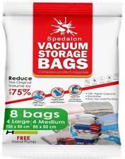NEW Vacuum Storage Bags Pack of 8 (4 Large + 4 Medium) FREE Pump