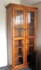 Large Timber Bookcase / Display Unit Complete With Glass Doors