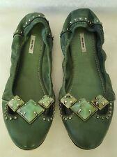 *GORGEOUS* MIU MIU Green Ballet Flats Stones Studs 37 6.5 Studded Mui Mui Jewels
