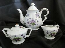 Lefton China Tea Pot Creamer Sugar 3 Piece Set White Gold Violets Hand Painted