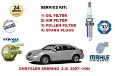FOR CHRYSLER SEBRING 2.0 2007-> OIL AIR POLLEN FILTER + SPARK PLUGS SERVICE KIT