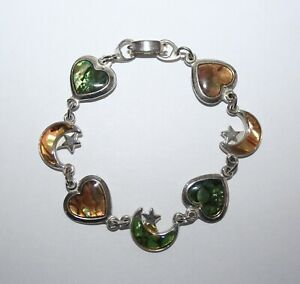 """VINTAGE ABALONE SHELL HEARTS AND MOONS 6"""" SHORT LENGTH BRACELET (NEW & UNUSED)"""