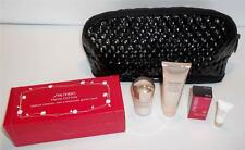 Shiseido 5 piece Travel Kit, Black Cosmetic Bag, Cleanser, Eye and Night Cream