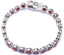 "BEAUTIFUL ROUND DEEP RED GARNET .925 Sterling Silver Bracelet 7"""
